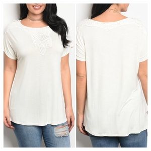 Ivory size short sleeve top embroidery detail